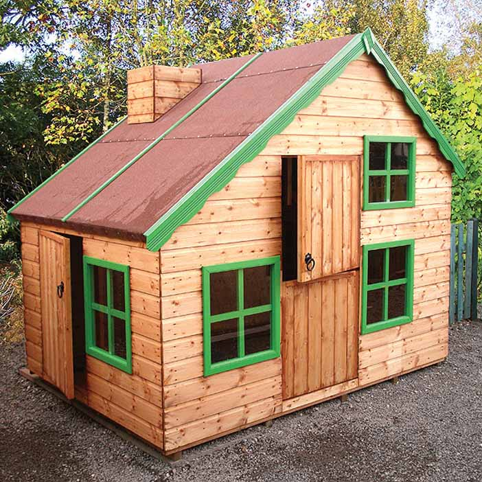 8' wide x 6' deep Playhouse with optional green paint pack and chimney.