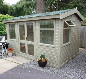 12' wide x 8' deep deal Arley Pavilion with green felt tiles and coloured painted finish