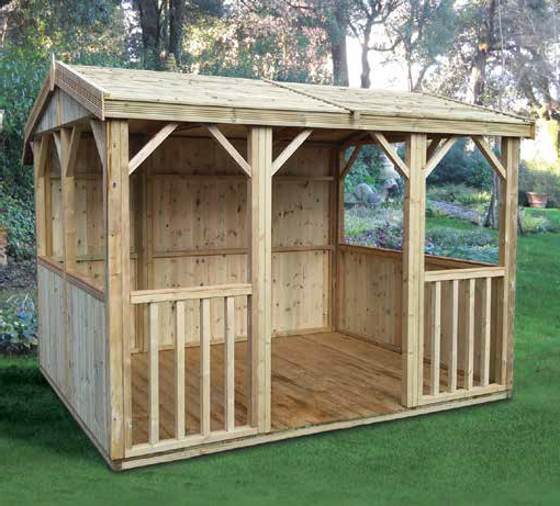 10' wide x 8' deep pressure treated deal Hanbury Apex shown with optional decked floor, fully boarded panels to rear and half boarded panels to sides.