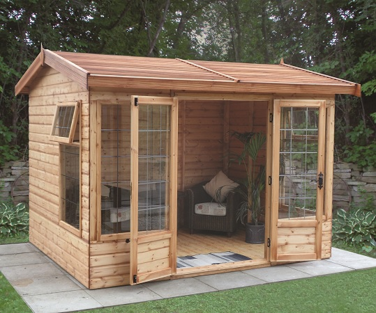 10' wide x 8' deep deal Newland Pavilion with optional cedar slatted roof, square leaded windows and doors
