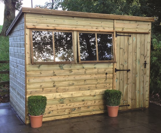 10' wide x 8' deep pressure treated Malvern Pent showing door right of front