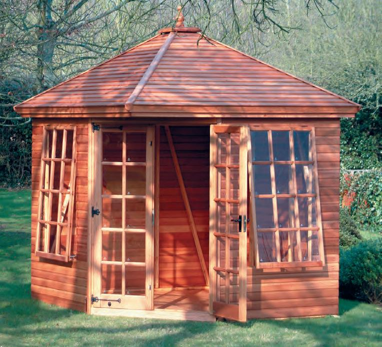 8' wide x 8' deep cedar Martley with cedar slatted roof, Georgian windows and doors