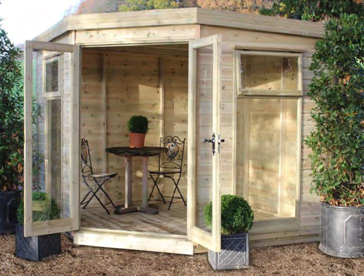 8' wide x 8' deep cedar Newland Corner with optional glass to ground windows and doors